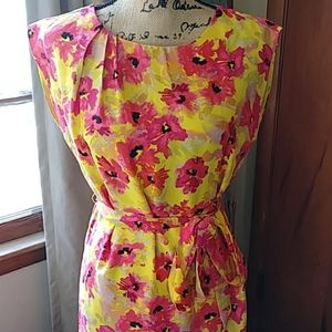 Loft Hot Pink and Yellow Floral Tie Dress
